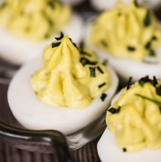 Avocado Deviled Eggs are a healthy spin on classic deviled eggs. Great for parties or a protein filled keto-friendly snack - you'll love them!