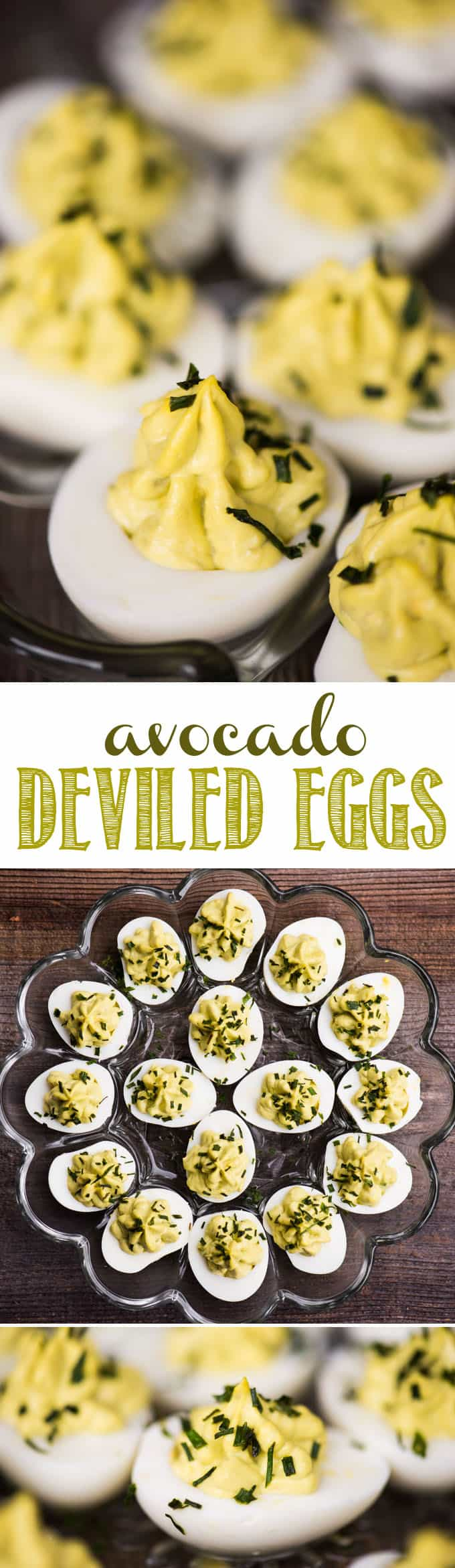Avocado Deviled Eggs are a healthy spin on classic deviled eggs. Great for parties or a protein filled keto-friendly snack - you'll love them! #avocado #deviledeggs #keto