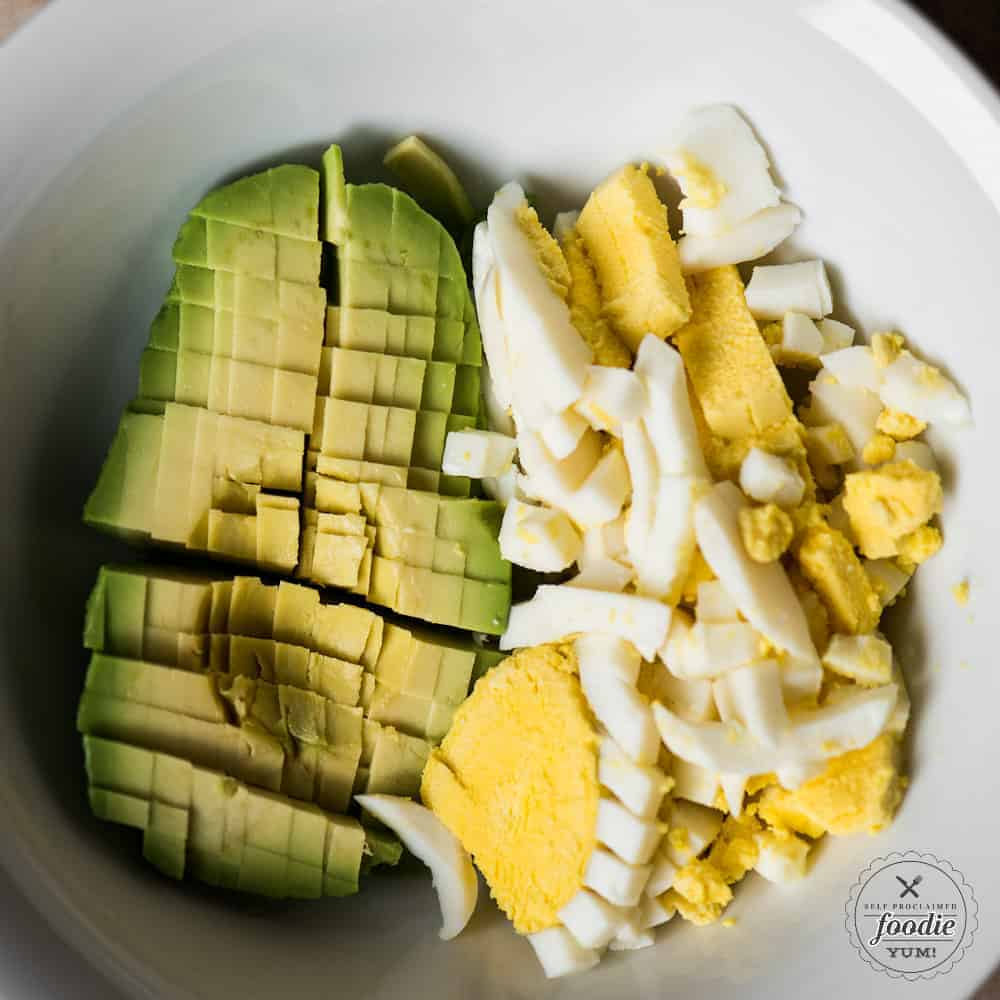 diced avocado and hard boiled egg