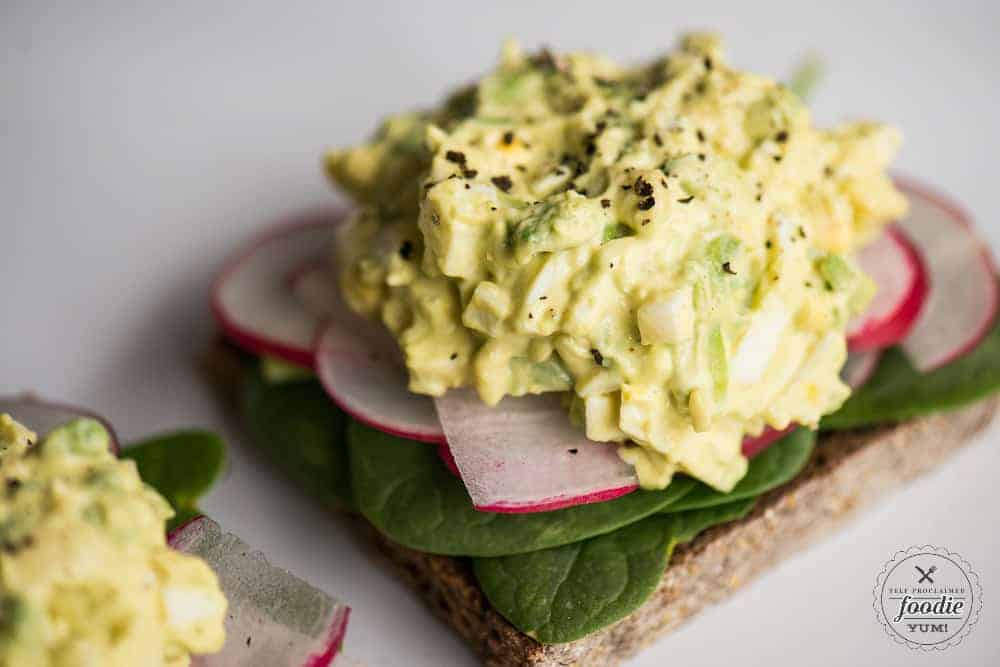 Egg salad recipe with avocado.
