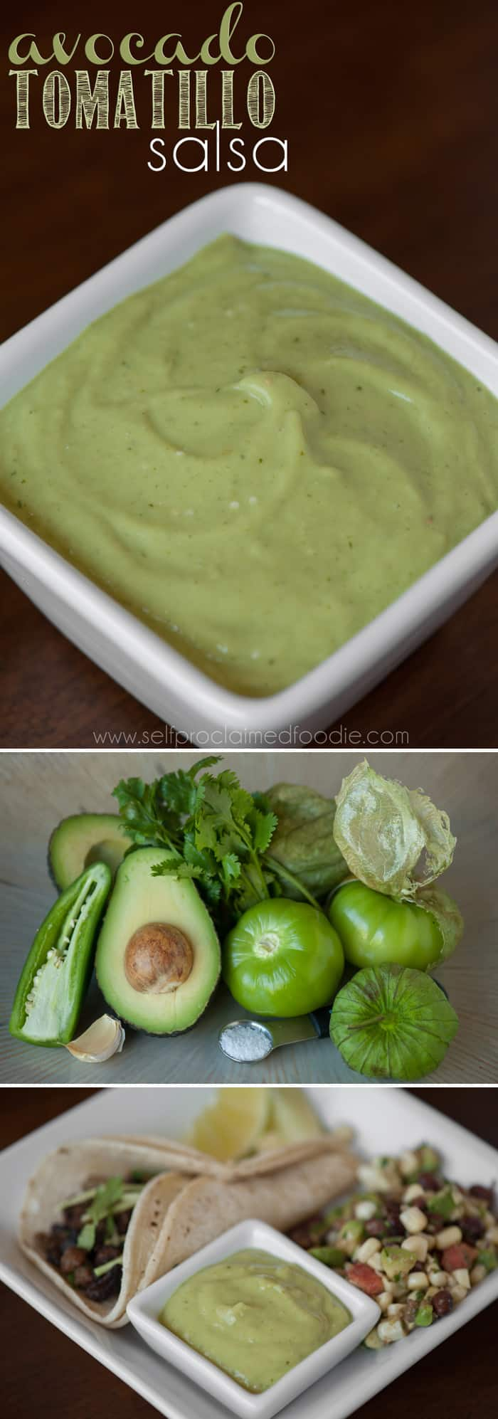 Next time you make tacos or burritos for dinner, be sure to make a batch of this creamy Avocado Tomatillo Salsa. Its bursting with flavor with a hint of heat.