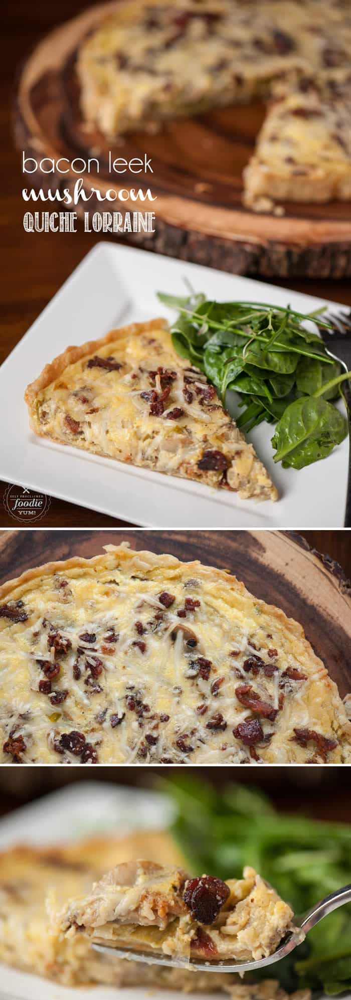 This decadent Bacon Leek Mushroom Quiche Lorraine is so incredibly delicious. Paired with lightly dressed greens, it is perfect for brunch or dinner.