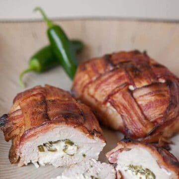 chicken breast covered in bacon weave