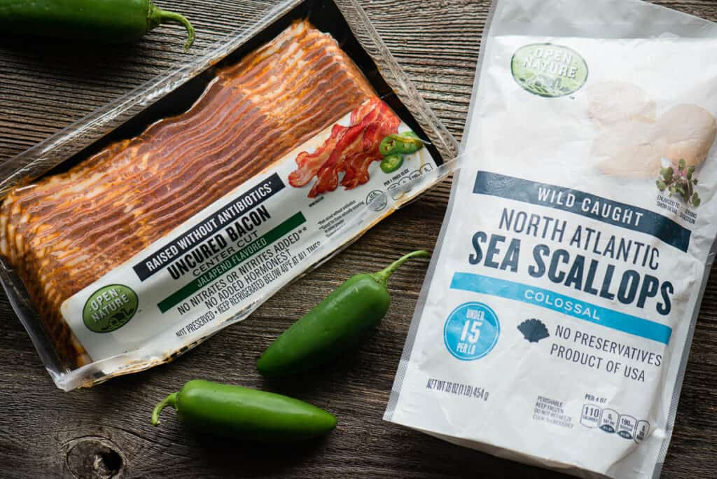 ingredients to make Bacon Wrapped Scallops with jalapeno