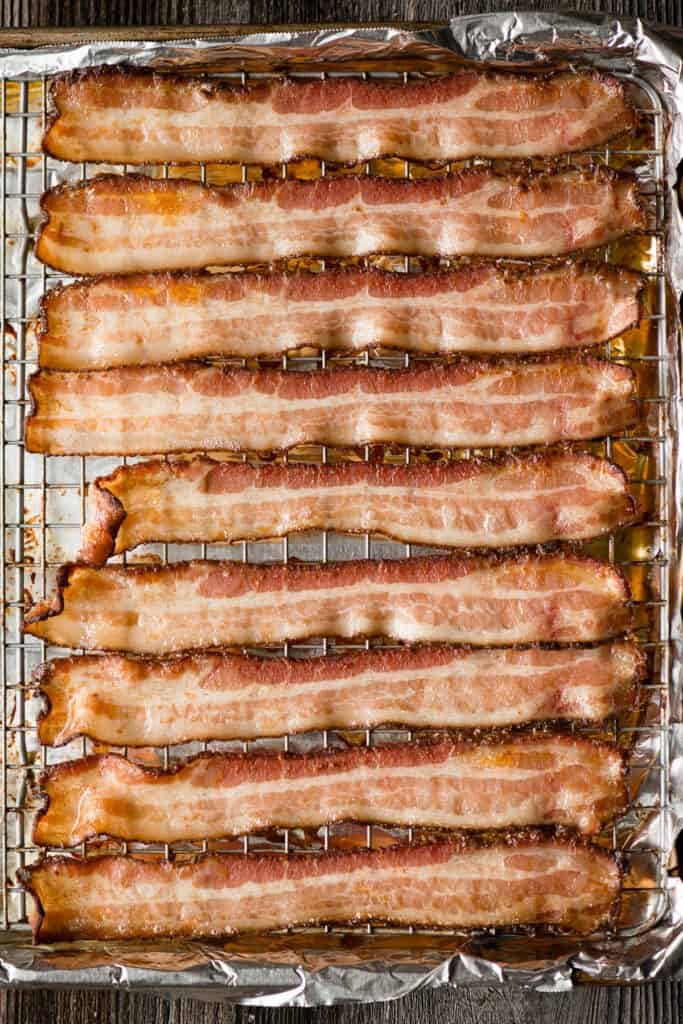 oven baked bacon on rack
