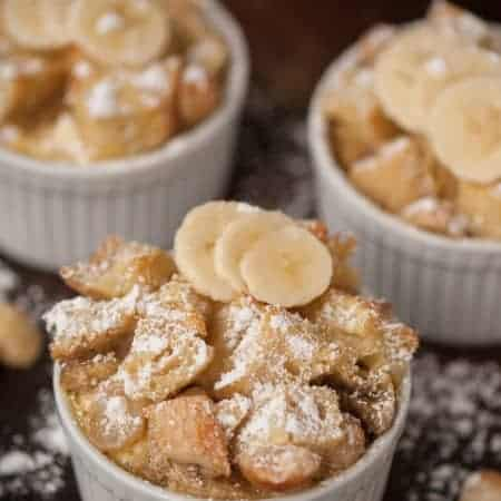 My rich and filling Baked Banana Macadamia French Toast with its cream cheese filling is prepared the day before, soaked over night, and served hot and delicious in the morning.