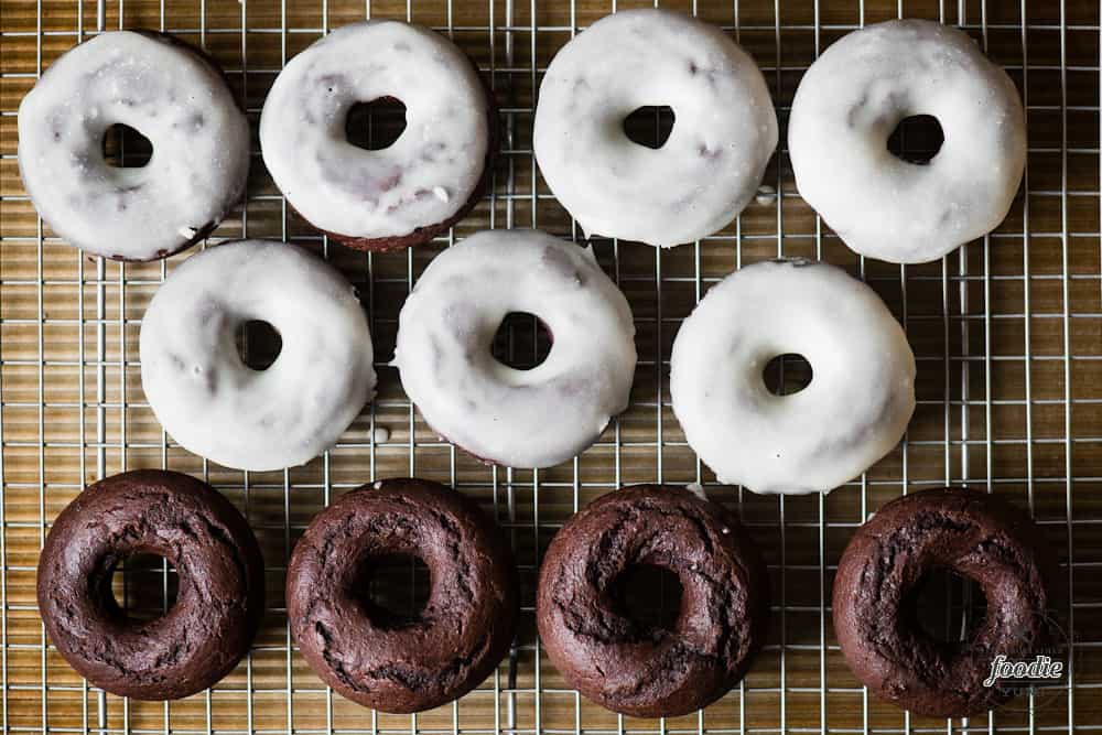 baked chocolate donuts with glaze