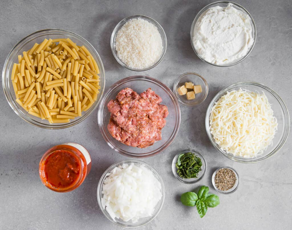 ingredients to make Baked Ziti with sausage and ricotta cheese