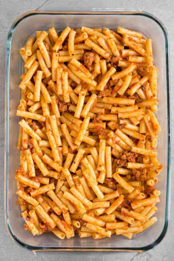 ziti pasta tossed with sauce and sausage