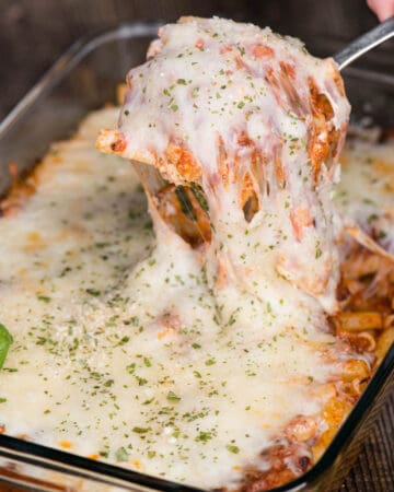 easy Baked Ziti with sausage and ricotta