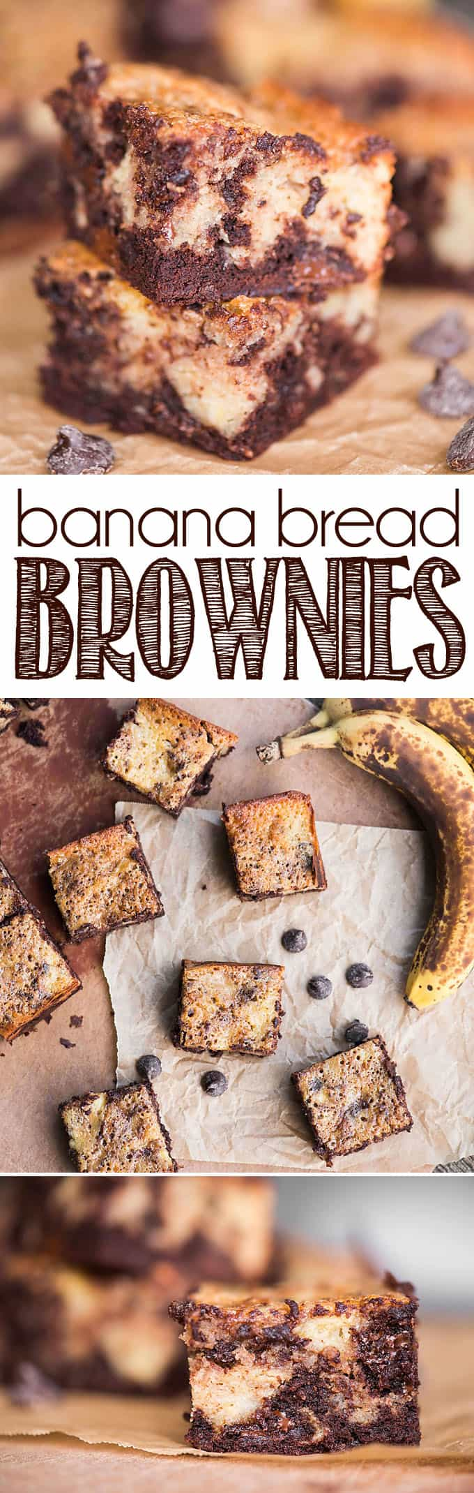 Banana Bread Brownies are the perfect combination of a moist banana bread swirled with a dense chocolate brownie. Banana brownies are a must make dessert!