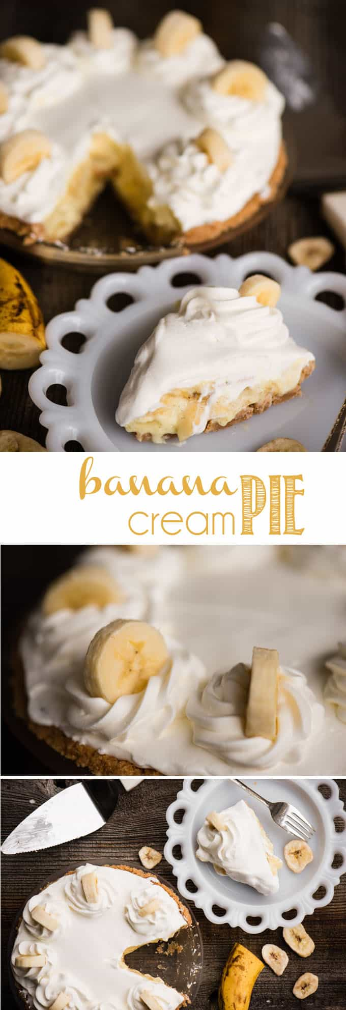 Banana Cream Pie made with ripe bananas, homemade vanilla pudding, and a Nilla Wafer crust, is a true American classic when it comes to desserts. Each bite is a flavor explosion full of different textures that will send you right back to your youth. This is the best homemade Banana Cream Pie recipe you will find! #bananacreampie #pie #banana #dessert #vanillapudding