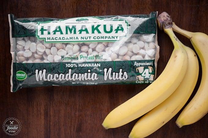 bag of macadamia nuts and bananas