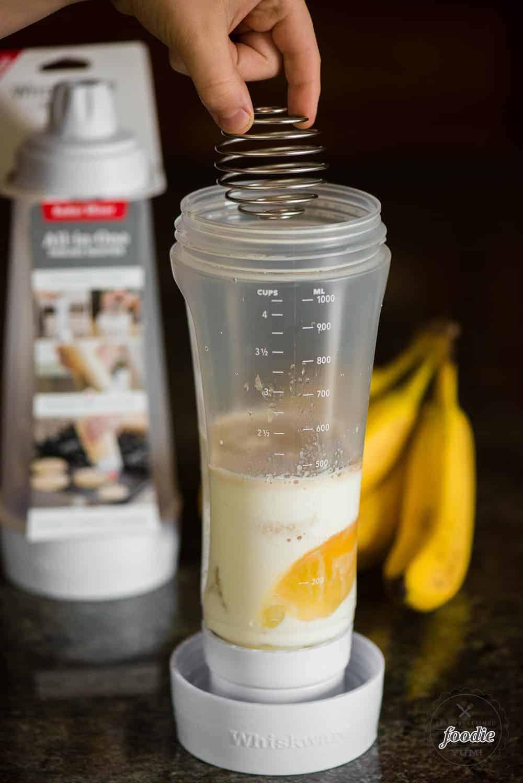 mixing homemade banana pancake batter