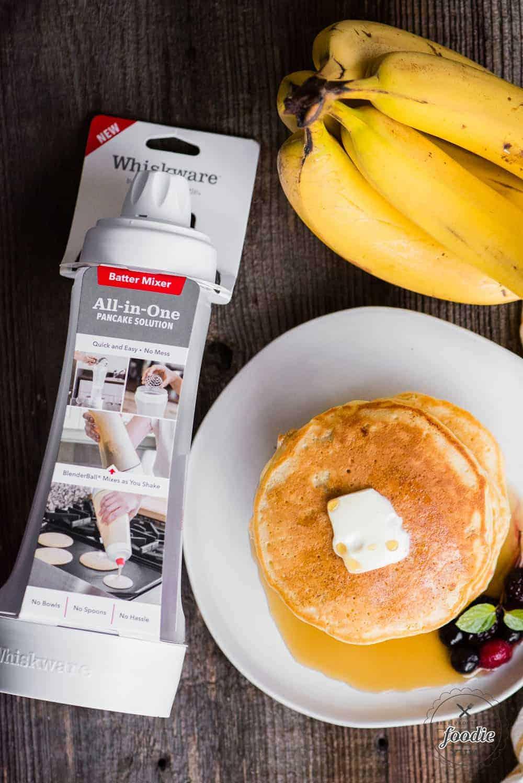 stack of homemade banana pancakes made with whiskware pancake batter mixer