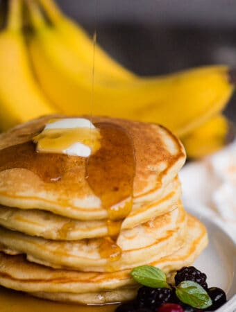 recipe for homemade banana pancakes with real maple syrup