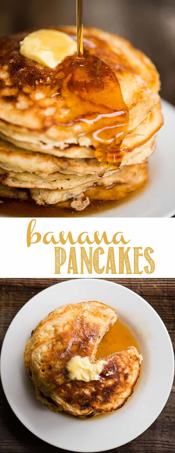 Banana Pancakes made from scratch with mashed ripe banana, walnuts, and buttermilk are what family breakfasts are all about! These fluffy homemade pancakes are perfect with a pad of butter and warm pure maple syrup. Don't bother using a mix when it's so easy to mix up a batch with ingredient you have on hand! #pancakes #banana #bananapancakes #banananut