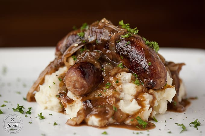 Bangers & Mash with Stout Onion Gravy - Self Proclaimed Foodie