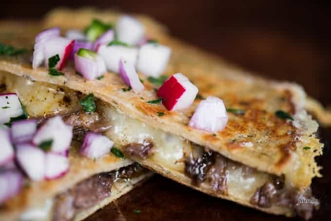 Cheesy chipotle beef barbacoa quesadilla