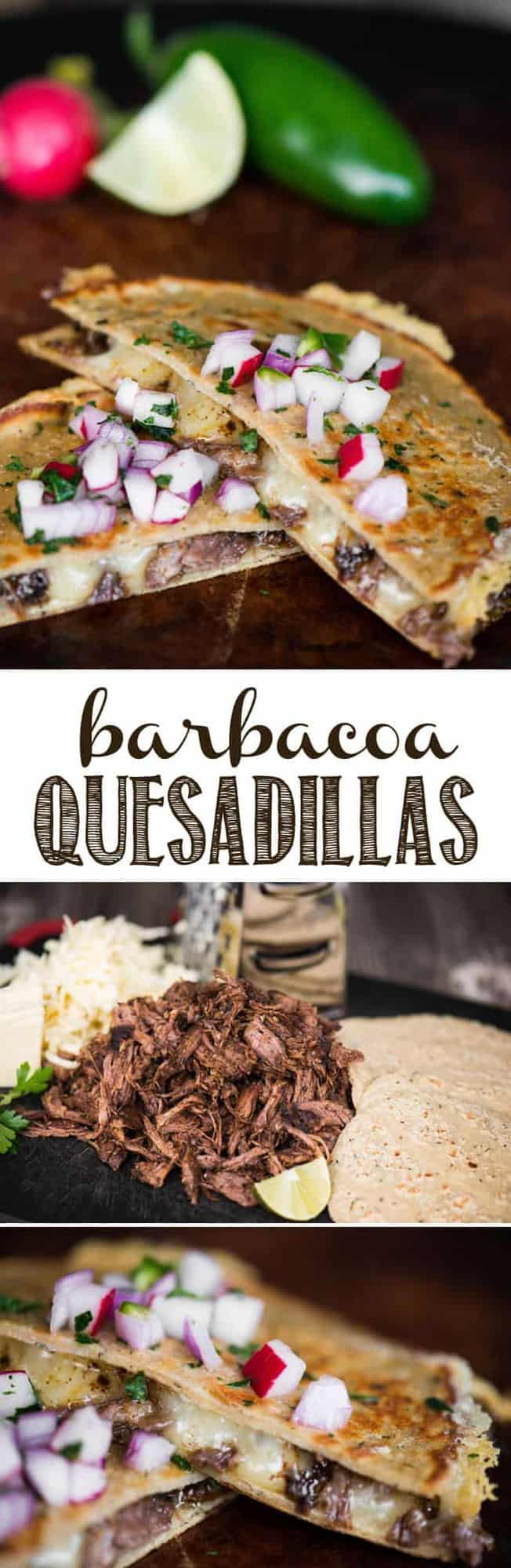 Barbacoa Quesadillas are made quick and easy by pressure cooking the beef roast with an amazing chipotle sauce, then melting cheese in the best tortillas. #barbacoa #barbacoaquesadilla #chipotlebeef