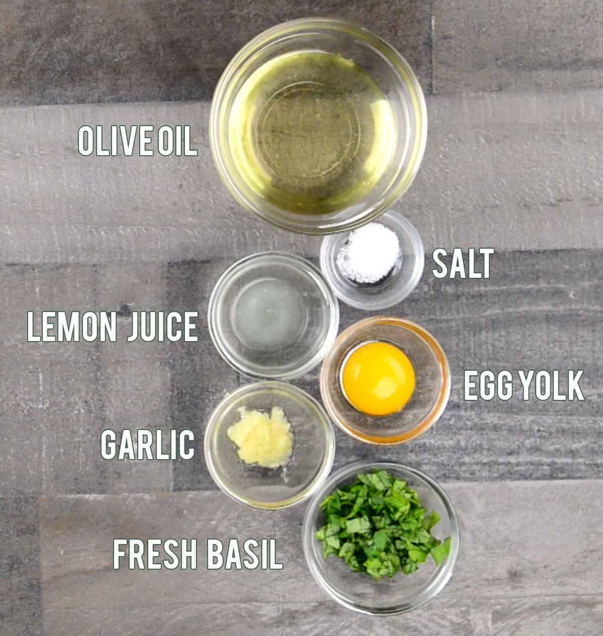 ingredients needed to make Basil Garlic Aioli