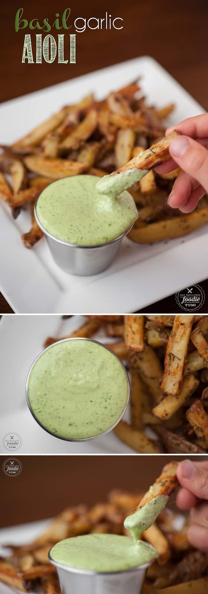 Basil Garlic Aioli sauce made from scratch only takes a few easy minutes and the result is a flavorful dip or spread that packs a real raw garlic punch.