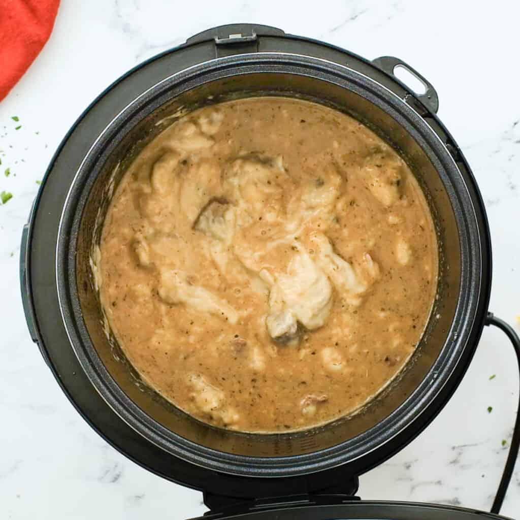 adding cream of mushroom to stew meat