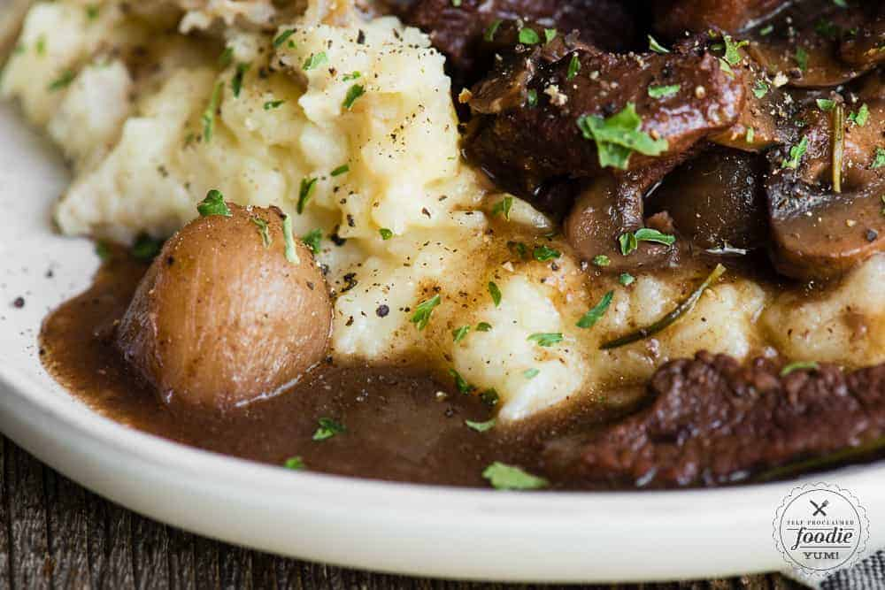 recipe for braised beef with red wine sauce over mashed potatoes