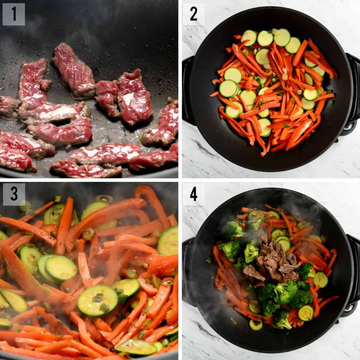 step by step process photos of how to make beef stir fry