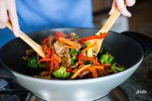 Beef Stir Fry in wok