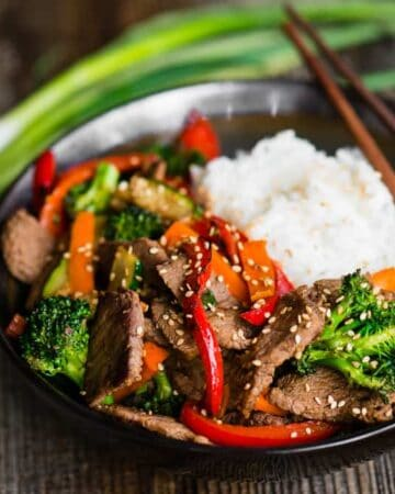 bowl of Beef Stir Fry and rice
