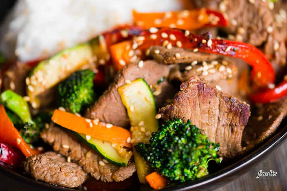 Beef Stir Fry with broccoli, zucchini, peppers