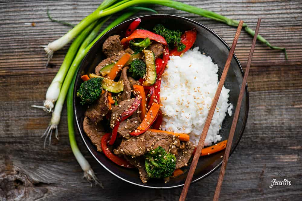 Beef Stir Fry in bowl with rice