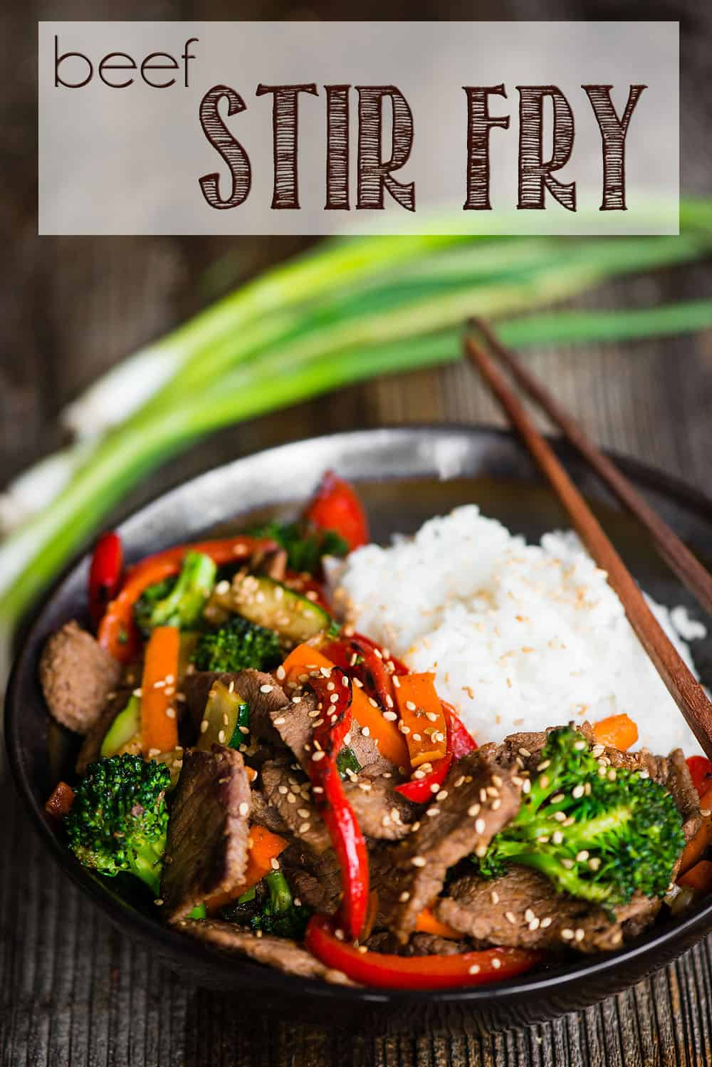 Beef Stir Fry with white rice in bowl