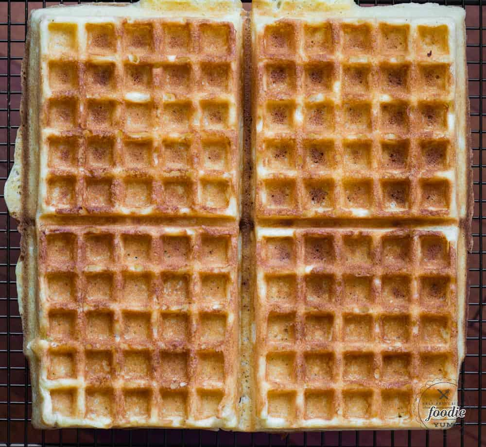 four squares of homemade Belgian Waffle