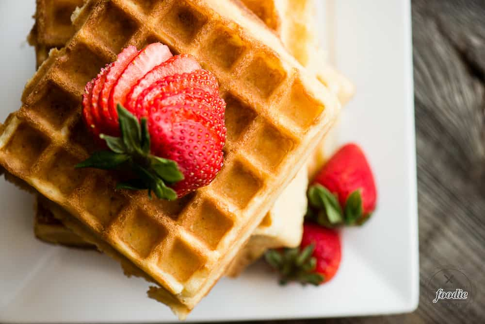 Close view of scratch made Belgian Waffles