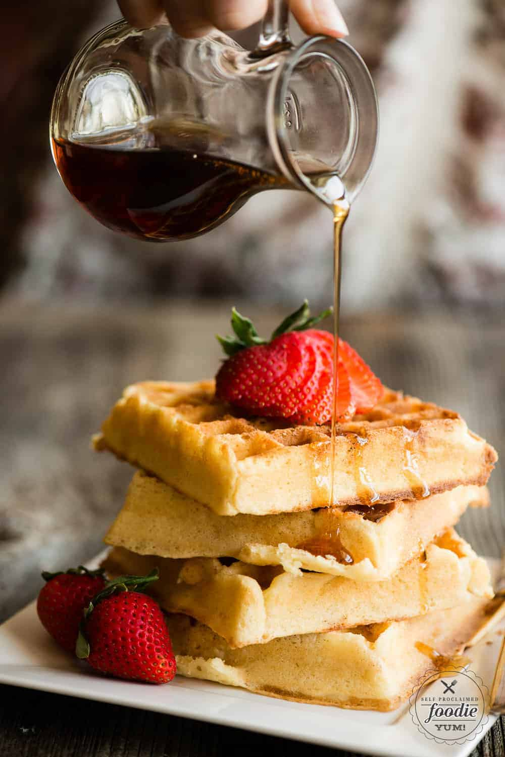 Belgian Waffles recipe with syrup and strawberries
