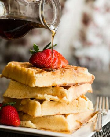 Stack of Belgian Waffles with syrup