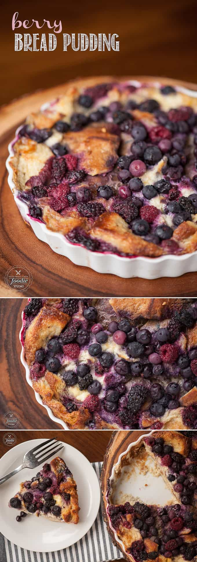 Berry Bread Pudding is made from just a few ingredients and is an easy to prepare dessert that is incredibly rich and decadent.