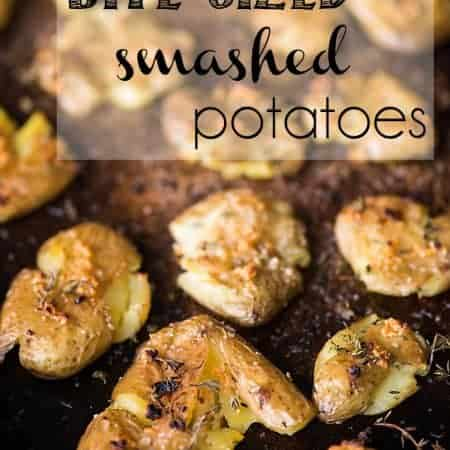 Bite Sized Smashed Potatoes are an easy side dish. Baby potatoes baked with fresh thyme, garlic, and olive oil are crispy on the outside and soft inside.