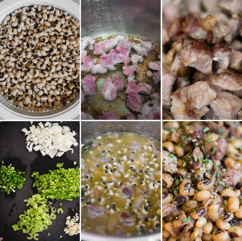 process photos for how to make black eyed peas in the instant pot