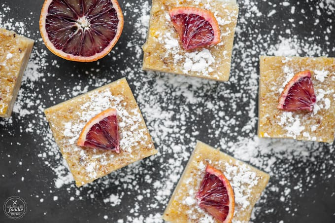 Less tart than your traditional lemon bars, Blood Orange Bars taste more like an orange flavored short bread cookie and are considered highly addictive.
