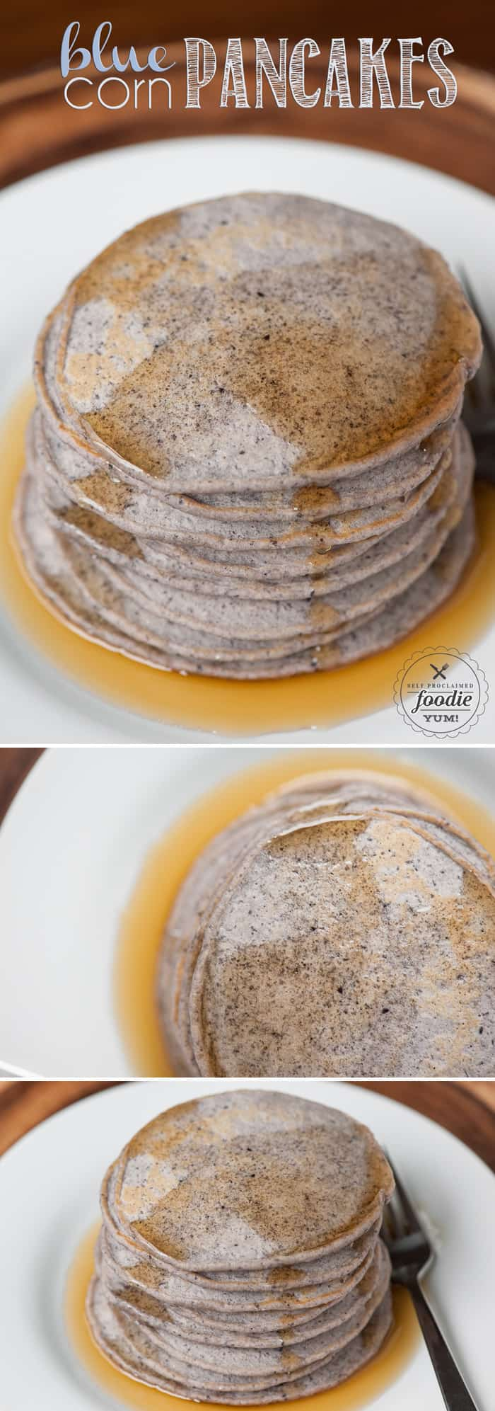 Blue Corn Pancakes are so easy to make and provide a wonderful flavor and gritty texture that is a refreshing change from a standard buttermilk pancake.