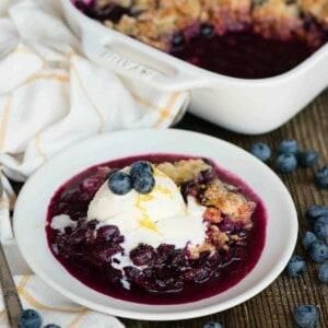 blueberry cobbler with vanilla ice cream