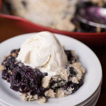 blueberry cake mix cobbler with scoop of vanilla ice cream