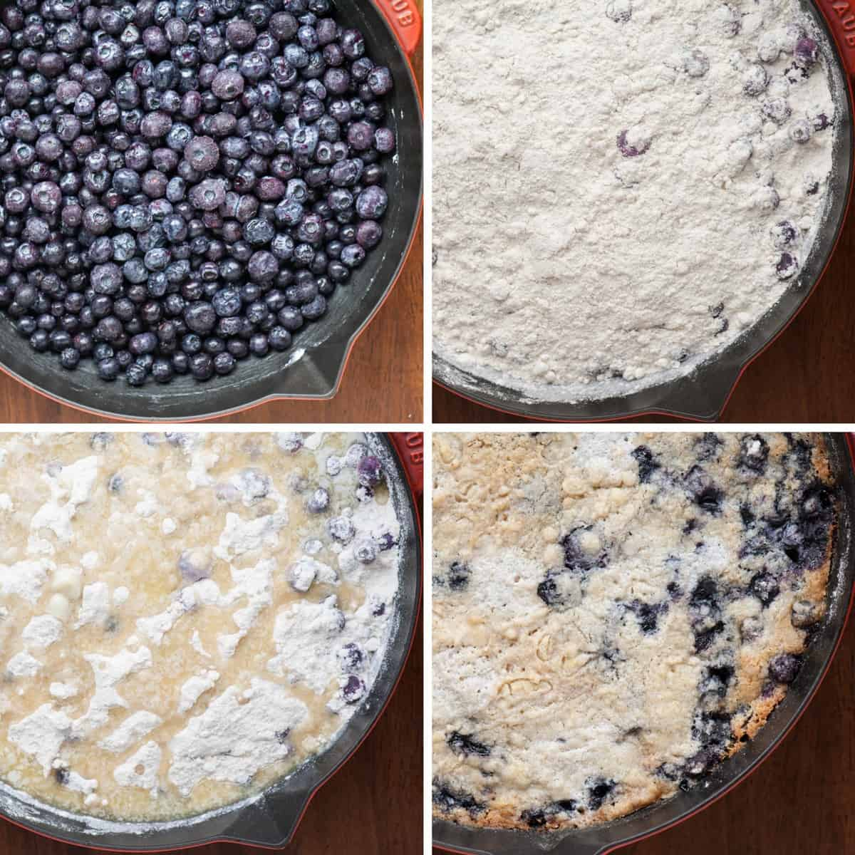 step by step process photos for a blueberry dump cake