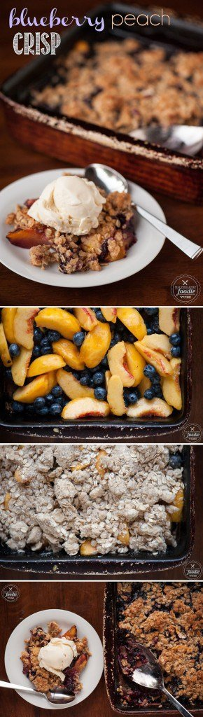 Eating Blueberry Peach Crisp for dessert is just like eating the most delicious oatmeal cookie you\'ve ever had with the added benefit of warm summer fruit!