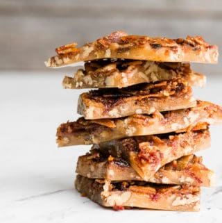 stack of homemade bourbon bacon brittle