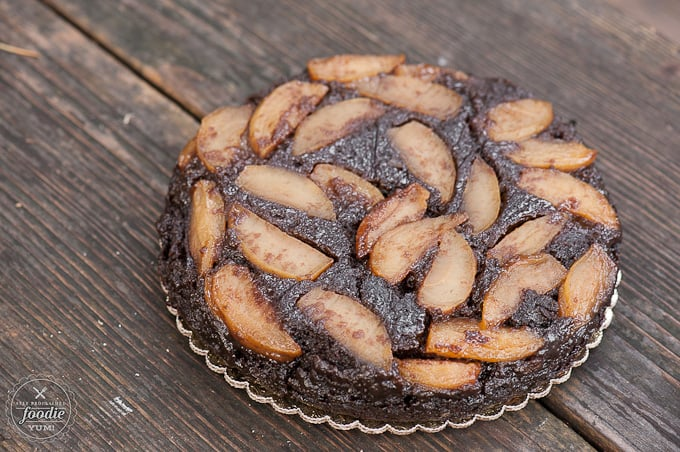 Bourbon Glazed Apple Gingerbread Upside Down Cake | Self Proclaimed Foodie