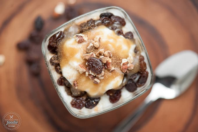 If you're looking for a rich and decadent dessert that is easy to make and perfect for summer, you'll love this Bourbon Raisin Caramel Pecan Rice Pudding.